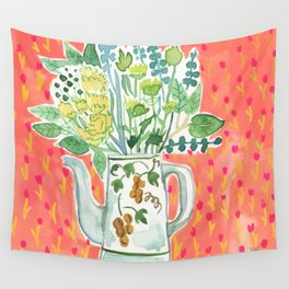Think Happy Floral Wall Tapestry