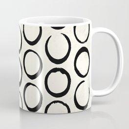 Polka Dots Circles Tribal Black and White Coffee Mug