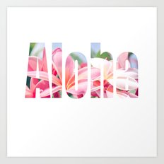 Aloha white Art Print