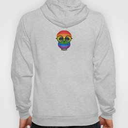 Baby Owl with Glasses and Gay Pride Rainbow Flag Hoody