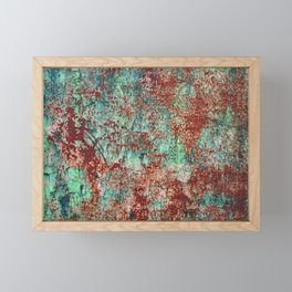 Abstract Rust on Turquoise Painting Framed Mini Art Print