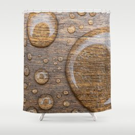 Water Drops on Wood 3 Shower Curtain