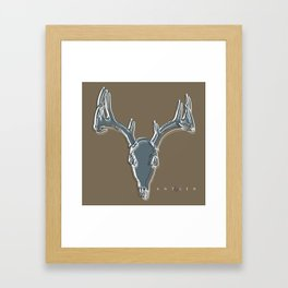 Deer Skull Antlers Outline on Dark Taupe Framed Art Print