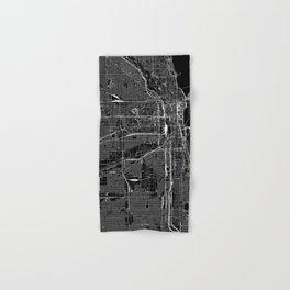 Chicago Black Map Hand & Bath Towel
