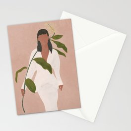 Elegant Lady holding a Flower Stationery Cards