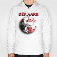 denmark Hoodies featuring Old football (Denmark) by seb mcnulty