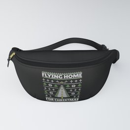 Ugly sweater flying home for xmas plane tree Fanny Pack