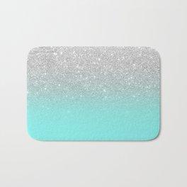 Modern girly faux silver glitter ombre teal ocean color bock Bath Mat