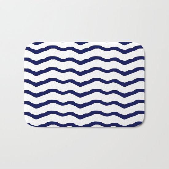 Maritime pattern- dark blue waves lines ond white  backround Bath Mat