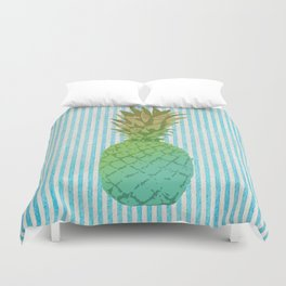 Gold and blue pineapple over blue strips Duvet Cover