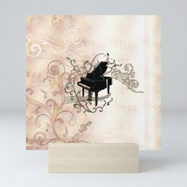 Music, piano with key notes and clef Mini Art Print