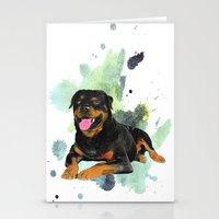 rottweiler Stationery Cards featuring Rottweiler happy by Cami Landia