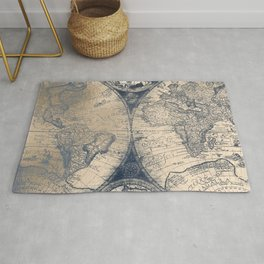 Antique World Map White Gold Navy Blue by Nature Magick Rug