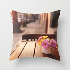 Flowers in the street Throw Pillow