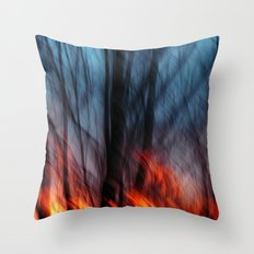 Out of the Blue into the Fire #II Throw Pillow