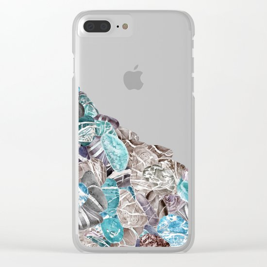 Turquoise Sea Stones Clear iPhone Case