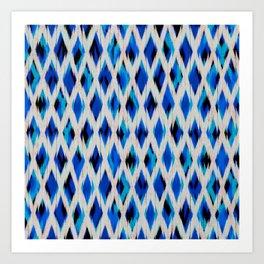 light diamond ikat texture on blues Art Print