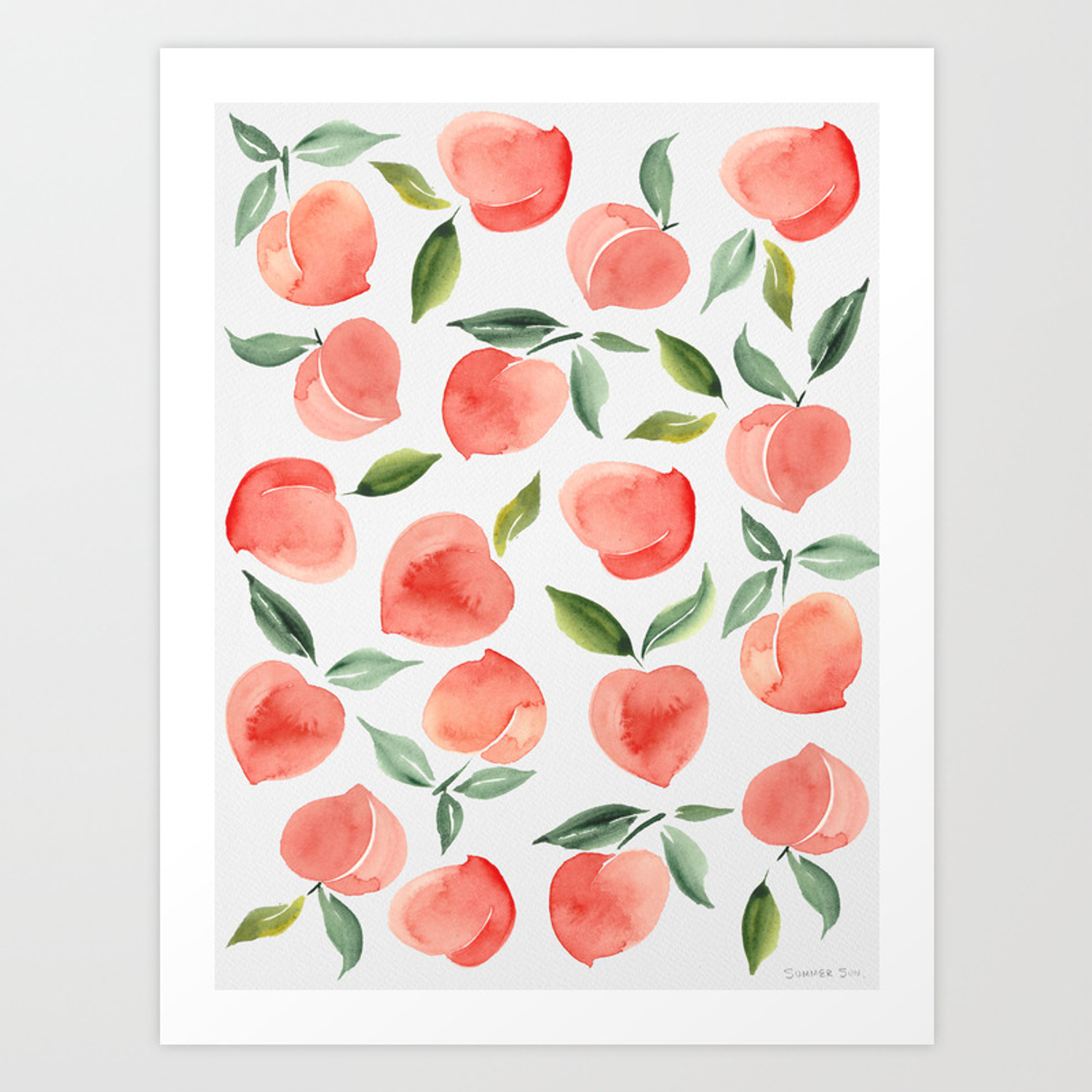 Peaches Art Print By Summersunhomeart Society6