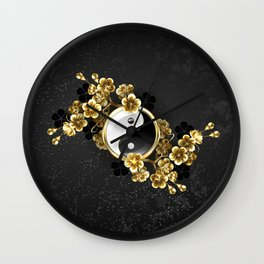 Yin Yang Symbol with Golden Sakura Wall Clock