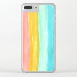 rainbow stripes pastel in the spring Clear iPhone Case