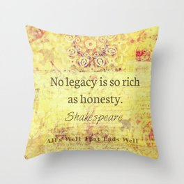 Shakespeare honesty quote Throw Pillow