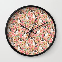 Basset Hound florals cute pink pastel gender neutral dog owner breed must have gifts dog art pets Wall Clock