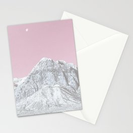Mojave Pink Sky // Red Rock Canyon Las Vegas Desert Landscape Snowstorm Moon Mountains Stationery Cards
