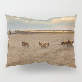 Cows Among the Grass - Cattle Wade Through a Field in Texas Pillow Sham