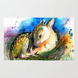Baby Deer Sleeping - After My Original Watercolor On Heavy Paper Rug