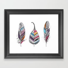 Aztec Leaf and Feathers Framed Art Print