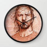 eddie vedder Wall Clocks featuring Eddie Vedder by Renato Cunha