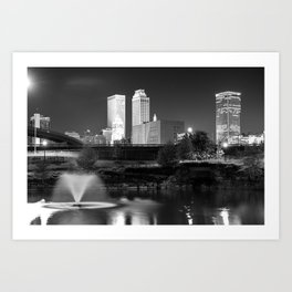 Tulsa Oklahoma Skyline Black and White Art Print