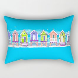 Beach Huts Fun Rectangular Pillow