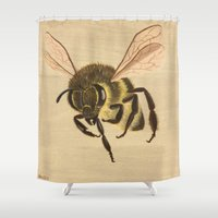 bee Shower Curtains featuring Bee  by Linda Wandt