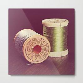 Wooden Spools of Thread Metal Print