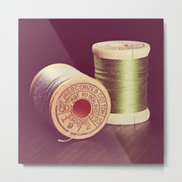Wooden Spools of Thread Metal Print