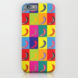 Retro Pop Art Chilli Peppers on Colourful Squares iPhone Case