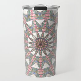 Soft Warm Pink Geometric Weaving Boho Mandala Travel Mug