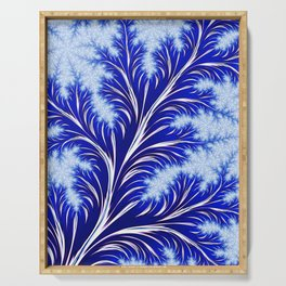 Abstract Blue Christmas Tree Branch with White Snowflakes Serving Tray