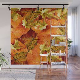Fallen Autumn Leaves Wall Mural