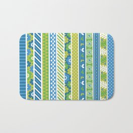 Geometrical lime green blue floral stripes patterns Bath Mat
