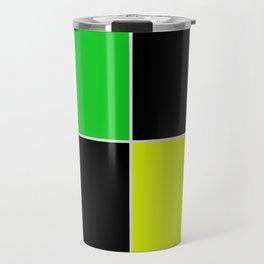 greenblack yellow squares  geometric pattern Travel Mug