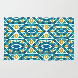 Orange teal watercolor moroccan motif pattern Rug