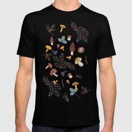 dark wild forest mushrooms T-shirt