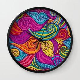 Vivid Whimsical Jewel Tone Retro Wave Print Pattern Wall Clock