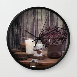 Autumn Still Life with berries and candles Wall Clock