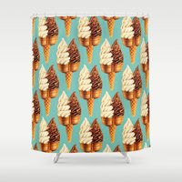 novelty Shower Curtains featuring Ice Cream Pattern - Teal by Kelly Gilleran