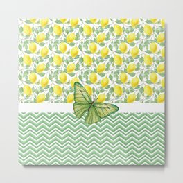 Butterfly And Lemons Metal Print