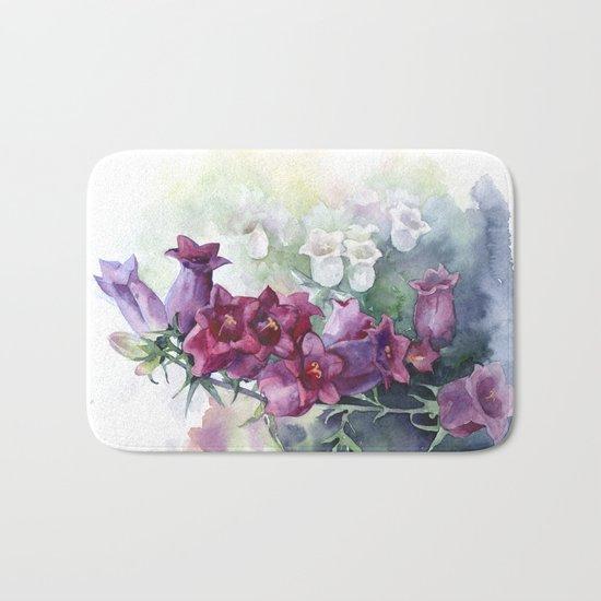 Campanula watercolor flowers aquarelle bellflowers Bath Mat