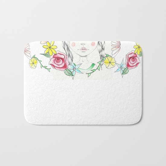 A Young Frida with Flower Border Bath Mat